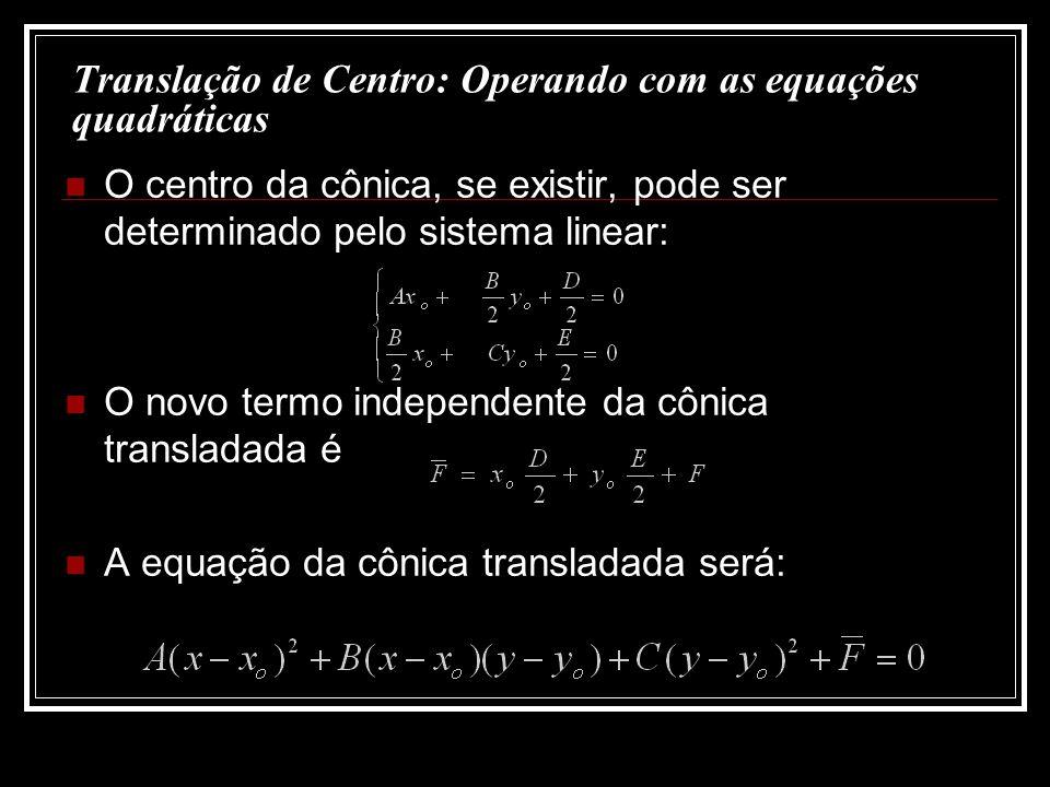 Translação de Centro: Operando com as equações quadráticas O centro da cônica, se existir, pode ser determinado pelo sistema linear: O novo termo inde