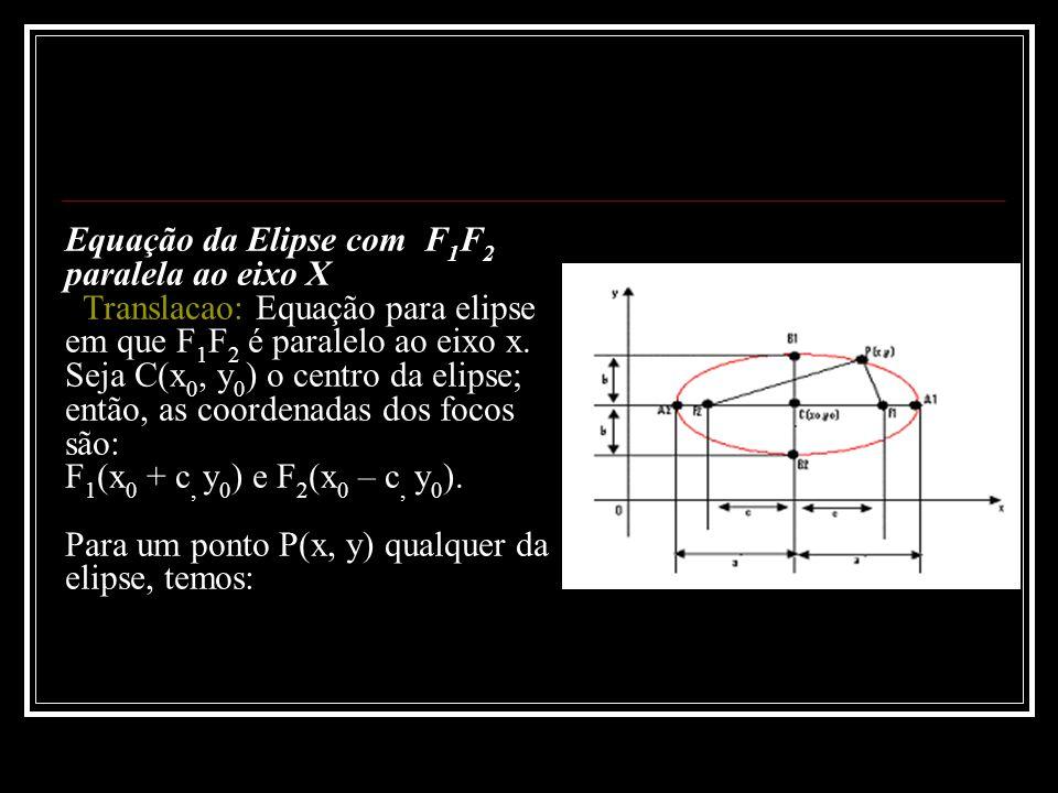 Equação da Elipse com F 1 F 2 paralela ao eixo X Translacao: Equação para elipse em que F 1 F 2 é paralelo ao eixo x. Seja C(x 0, y 0 ) o centro da el