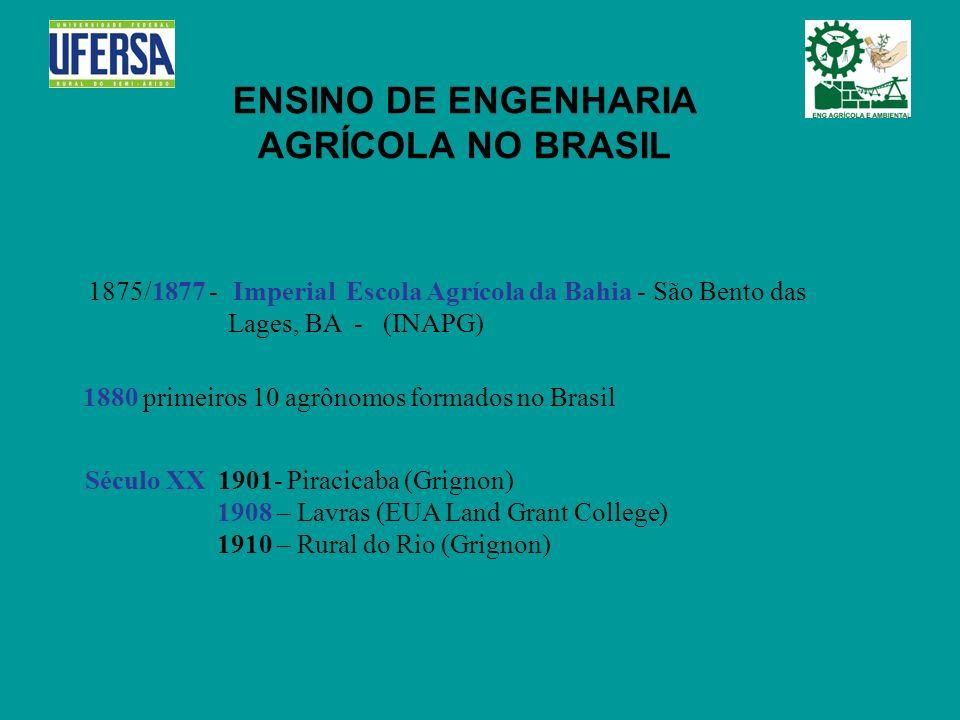 ENSINO DE ENGENHARIA AGRÍCOLA NO BRASIL 1875/1877 - Imperial Escola Agrícola da Bahia - São Bento das Lages, BA - (INAPG) 1880 primeiros 10 agrônomos