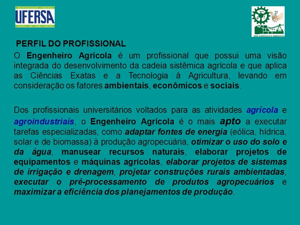 PERFIL DO PROFISSIONAL O Engenheiro Agrícola é um profissional que possui uma visão integrada do desenvolvimento da cadeia sistêmica agrícola e que ap
