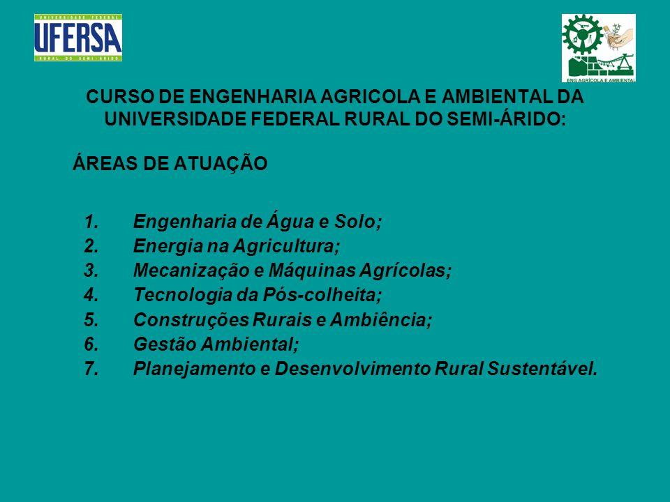 CURSO DE ENGENHARIA AGRICOLA E AMBIENTAL DA UNIVERSIDADE FEDERAL RURAL DO SEMI-ÁRIDO: ÁREAS DE ATUAÇÃO 1. Engenharia de Água e Solo; 2. Energia na Agr