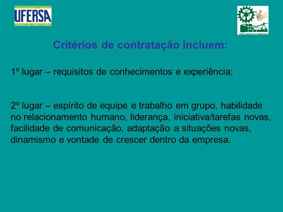 Critérios de contratação incluem: 1º lugar – requisitos de conhecimentos e experiência; 2º lugar – espírito de equipe e trabalho em grupo, habilidade