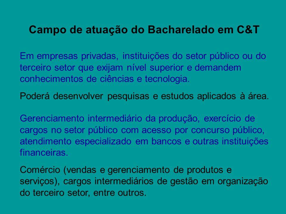 Campo de atuação do Bacharelado em C&T Em empresas privadas, instituições do setor público ou do terceiro setor que exijam nível superior e demandem c