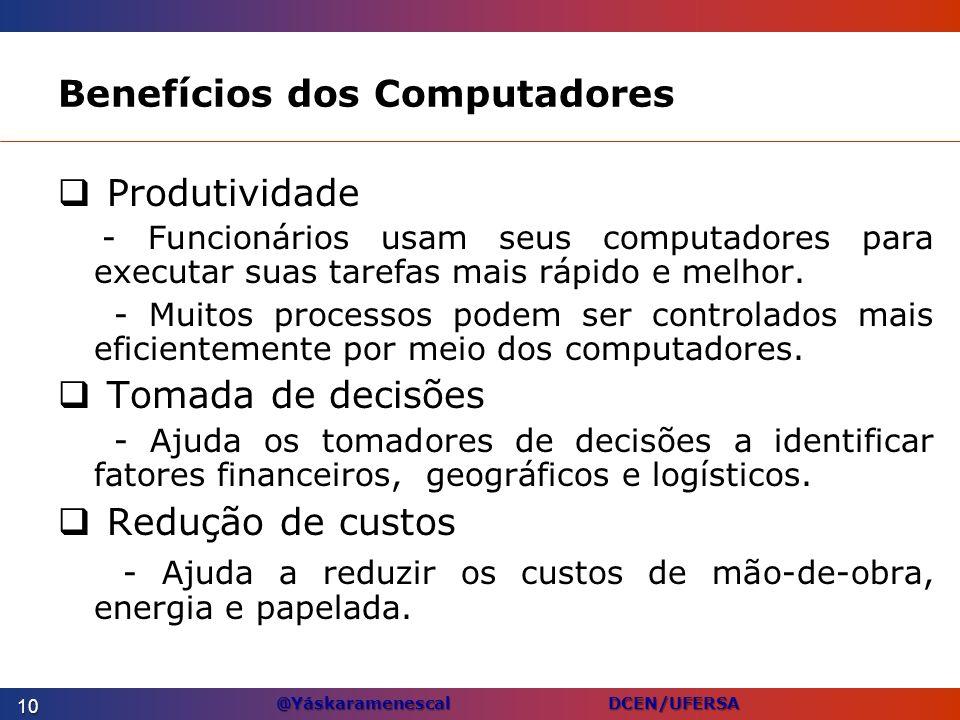 @Yáskaramenescal DCEN/UFERSA Benefícios dos Computadores Produtividade - Funcionários usam seus computadores para executar suas tarefas mais rápido e