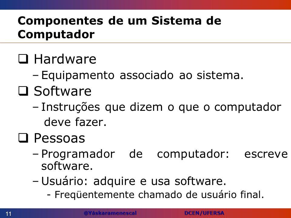 @Yáskaramenescal DCEN/UFERSA Componentes de um Sistema de Computador Hardware –Equipamento associado ao sistema. Software –Instruções que dizem o que