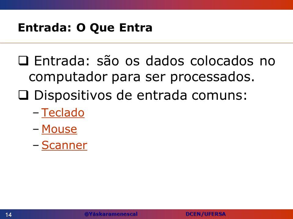@Yáskaramenescal DCEN/UFERSA Entrada: O Que Entra Entrada: são os dados colocados no computador para ser processados. Dispositivos de entrada comuns:
