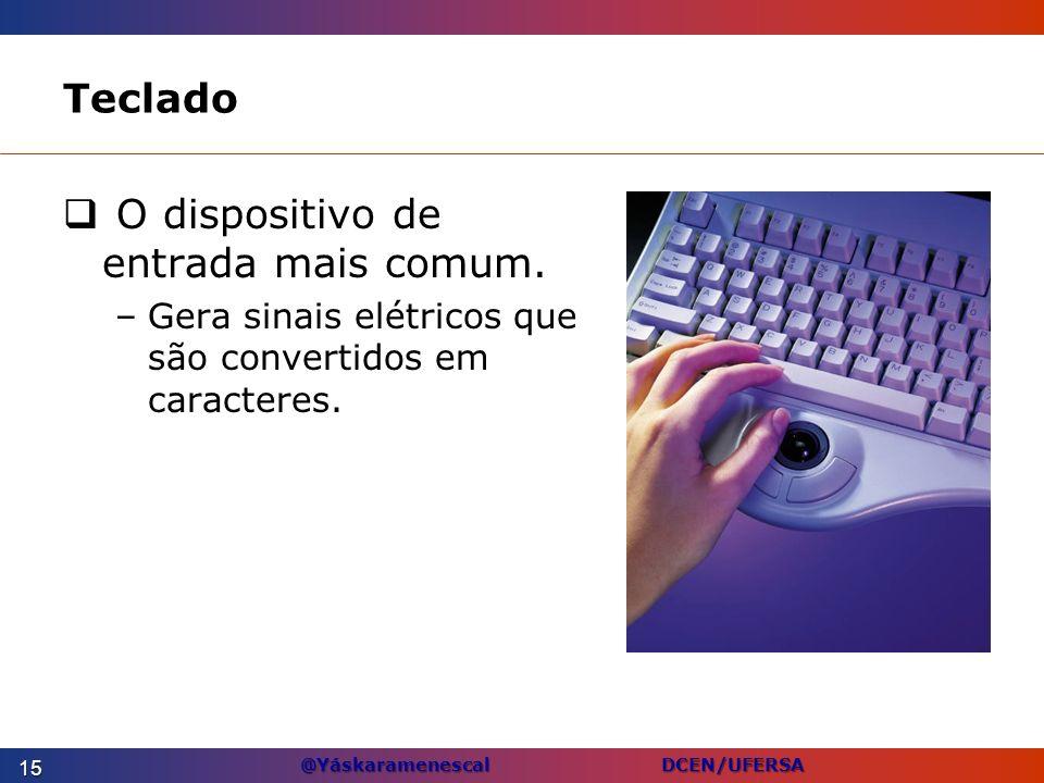 @Yáskaramenescal DCEN/UFERSA Teclado O dispositivo de entrada mais comum. –Gera sinais elétricos que são convertidos em caracteres. 15