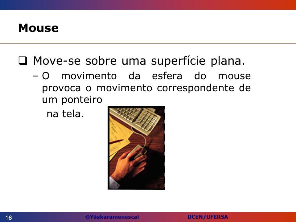 @Yáskaramenescal DCEN/UFERSA Mouse Move-se sobre uma superfície plana. –O movimento da esfera do mouse provoca o movimento correspondente de um pontei