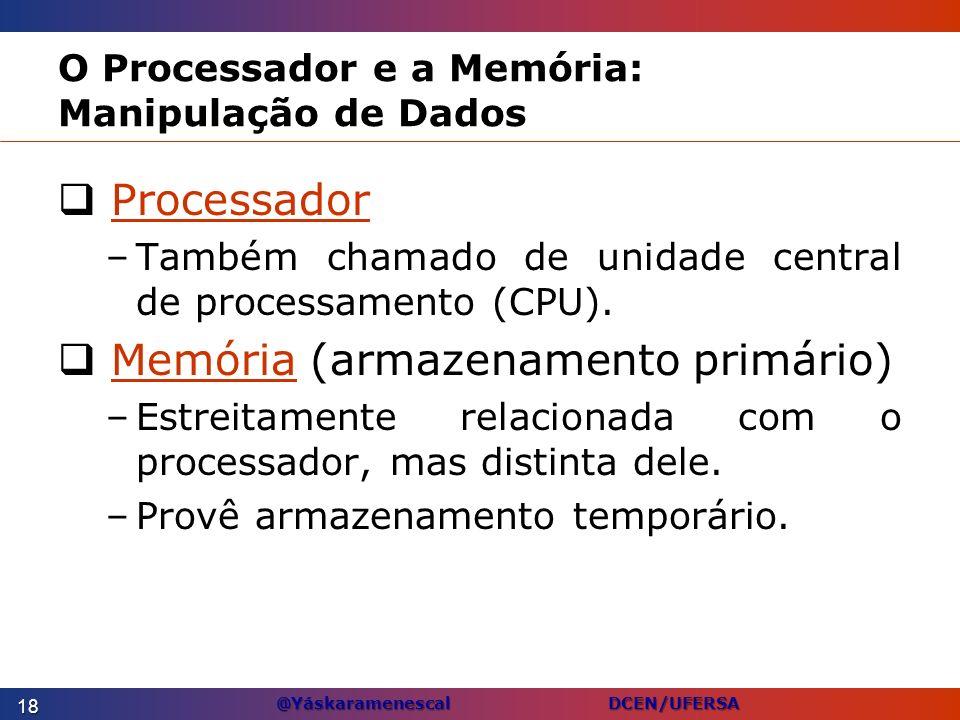 @Yáskaramenescal DCEN/UFERSA O Processador e a Memória: Manipulação de Dados Processador –Também chamado de unidade central de processamento (CPU). Me