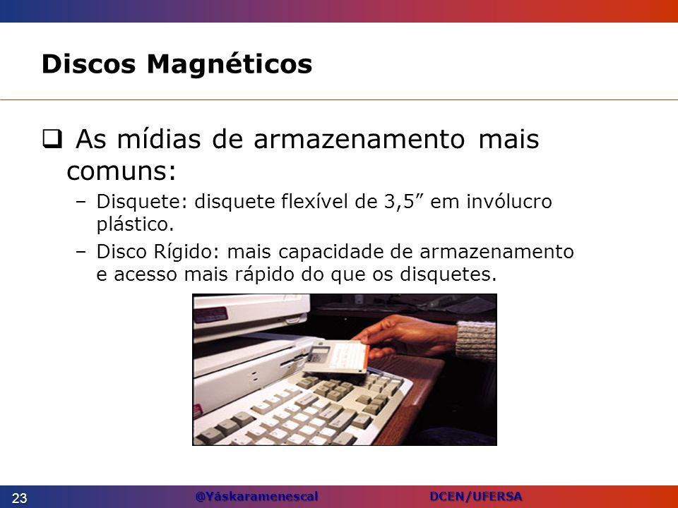@Yáskaramenescal DCEN/UFERSA Discos Magnéticos As mídias de armazenamento mais comuns: –Disquete: disquete flexível de 3,5 em invólucro plástico. –Dis