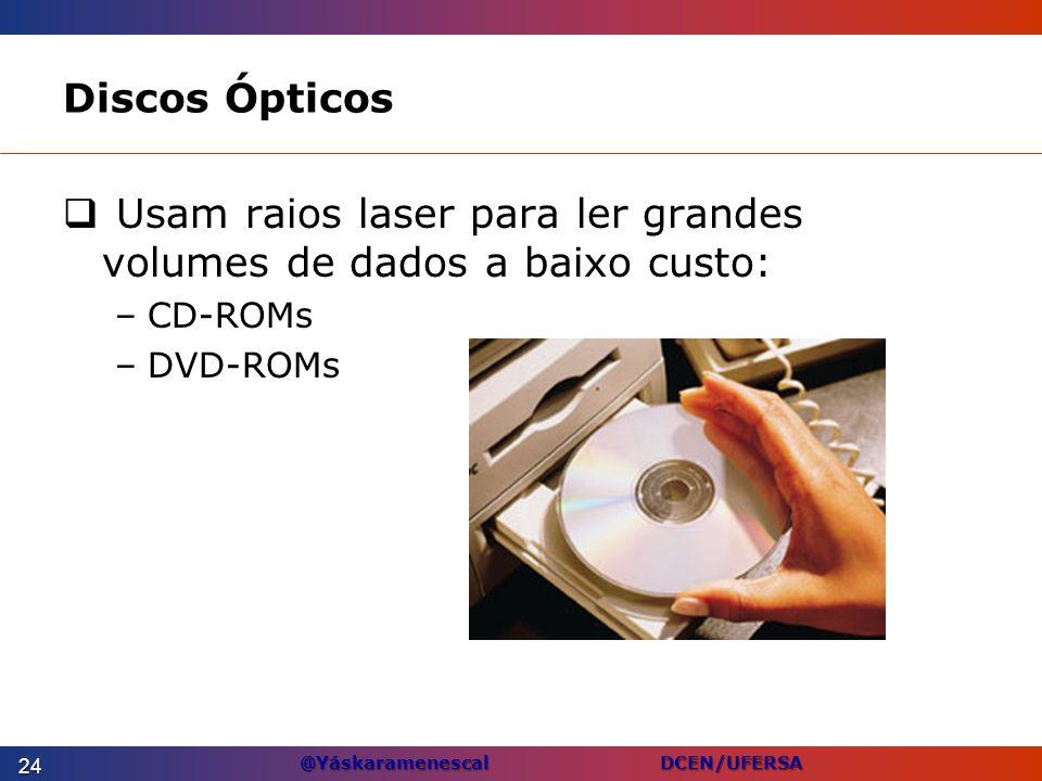 @Yáskaramenescal DCEN/UFERSA Discos Ópticos Usam raios laser para ler grandes volumes de dados a baixo custo: –CD-ROMs –DVD-ROMs 24