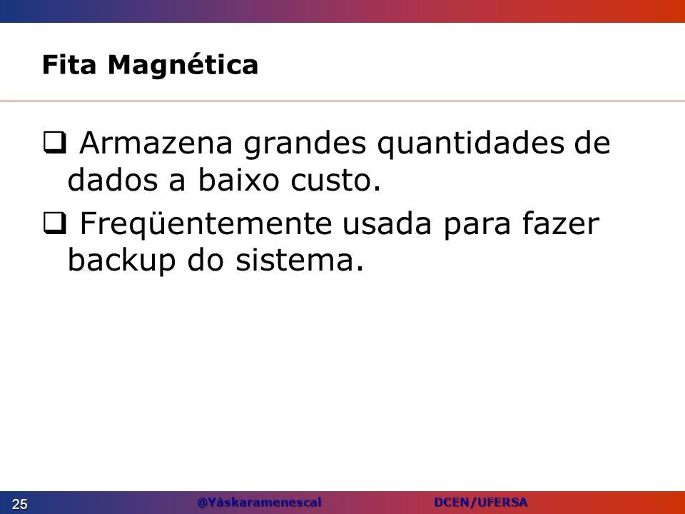 @Yáskaramenescal DCEN/UFERSA Fita Magnética Armazena grandes quantidades de dados a baixo custo. Freqüentemente usada para fazer backup do sistema. 25
