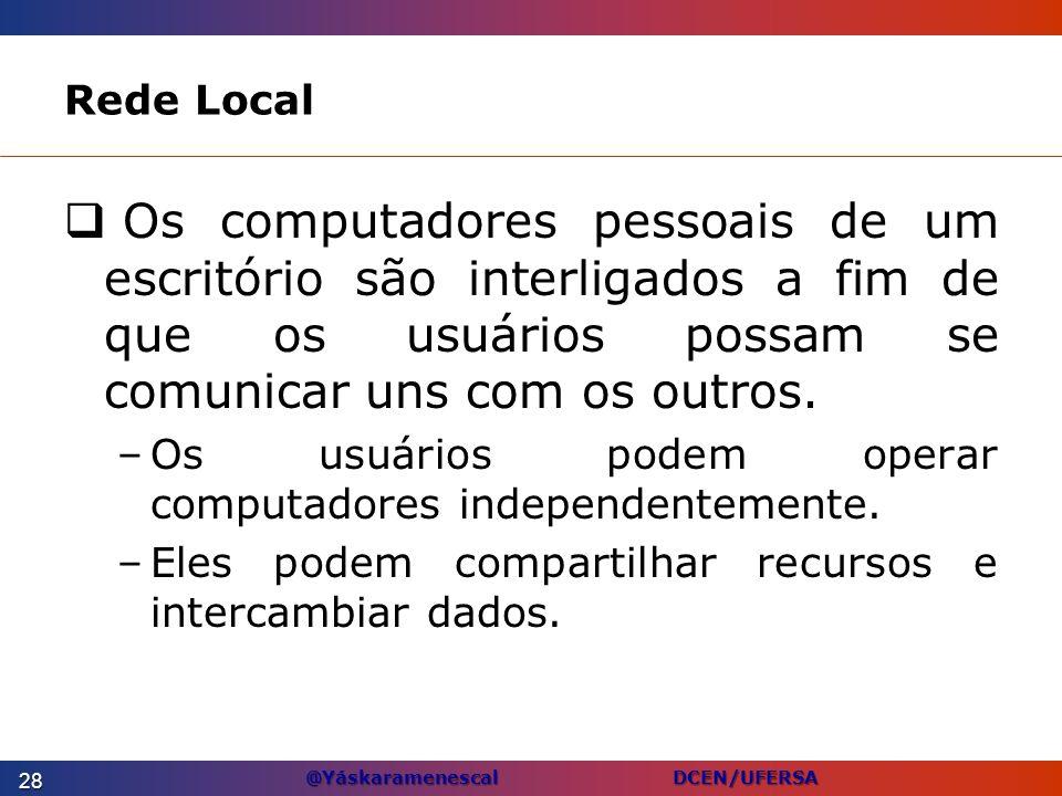 @Yáskaramenescal DCEN/UFERSA Rede Local Os computadores pessoais de um escritório são interligados a fim de que os usuários possam se comunicar uns co