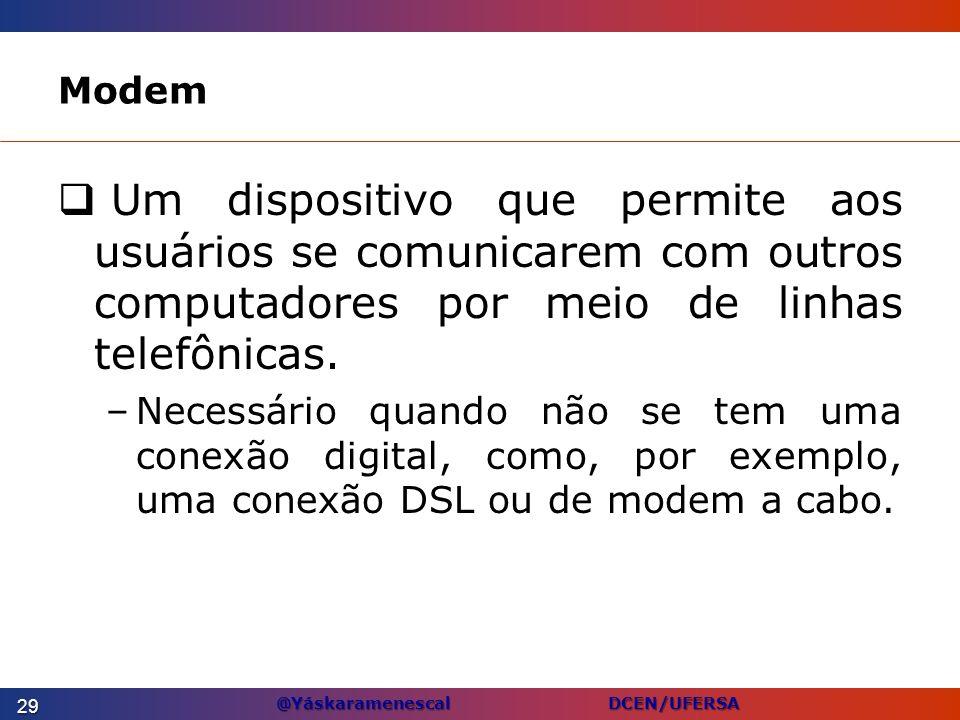 @Yáskaramenescal DCEN/UFERSA Modem Um dispositivo que permite aos usuários se comunicarem com outros computadores por meio de linhas telefônicas. –Nec