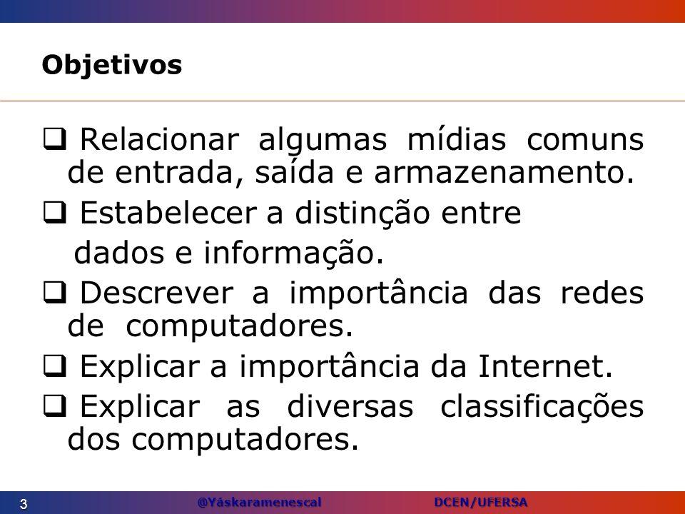 @Yáskaramenescal DCEN/UFERSA Objetivos Relacionar algumas mídias comuns de entrada, saída e armazenamento. Estabelecer a distinção entre dados e infor
