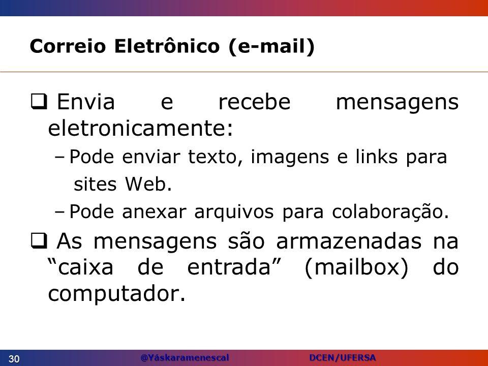 @Yáskaramenescal DCEN/UFERSA Correio Eletrônico (e-mail) Envia e recebe mensagens eletronicamente: –Pode enviar texto, imagens e links para sites Web.