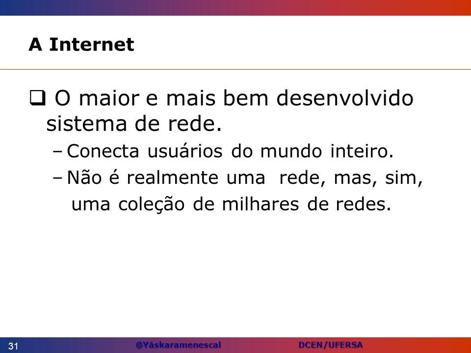 @Yáskaramenescal DCEN/UFERSA A Internet O maior e mais bem desenvolvido sistema de rede. –Conecta usuários do mundo inteiro. –Não é realmente uma rede