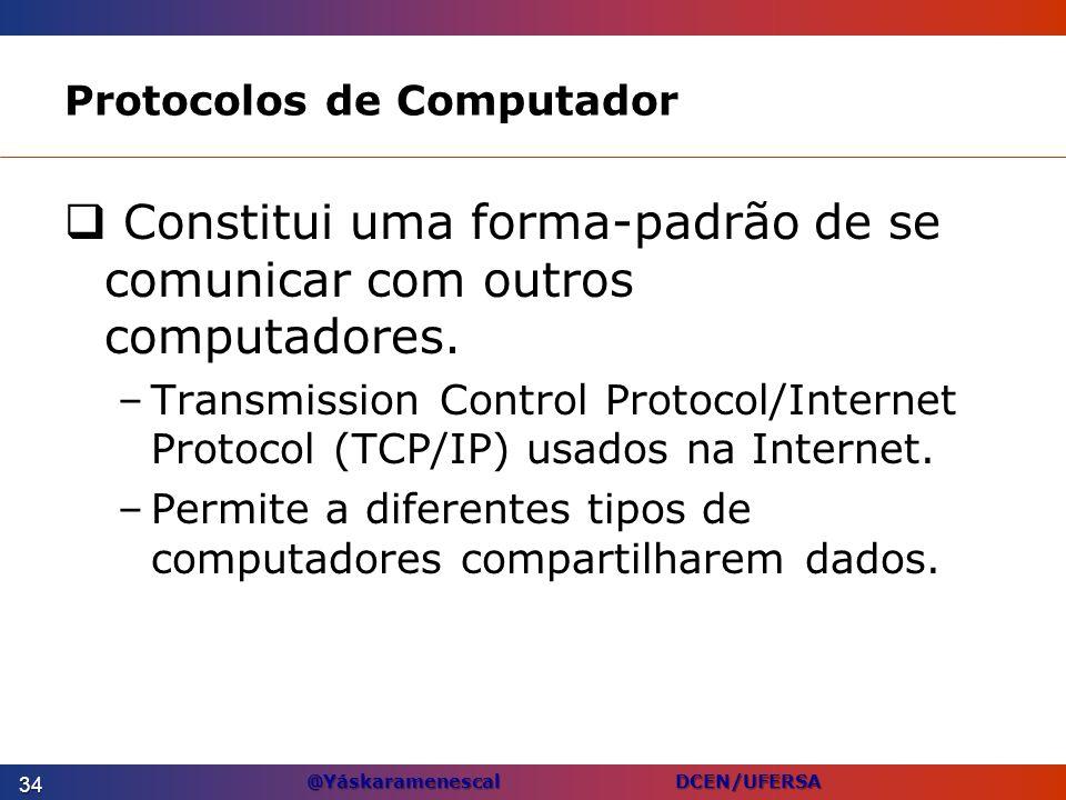 @Yáskaramenescal DCEN/UFERSA Protocolos de Computador Constitui uma forma-padrão de se comunicar com outros computadores. –Transmission Control Protoc