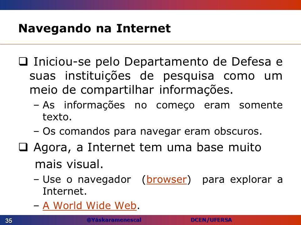 @Yáskaramenescal DCEN/UFERSA Navegando na Internet Iniciou-se pelo Departamento de Defesa e suas instituições de pesquisa como um meio de compartilhar