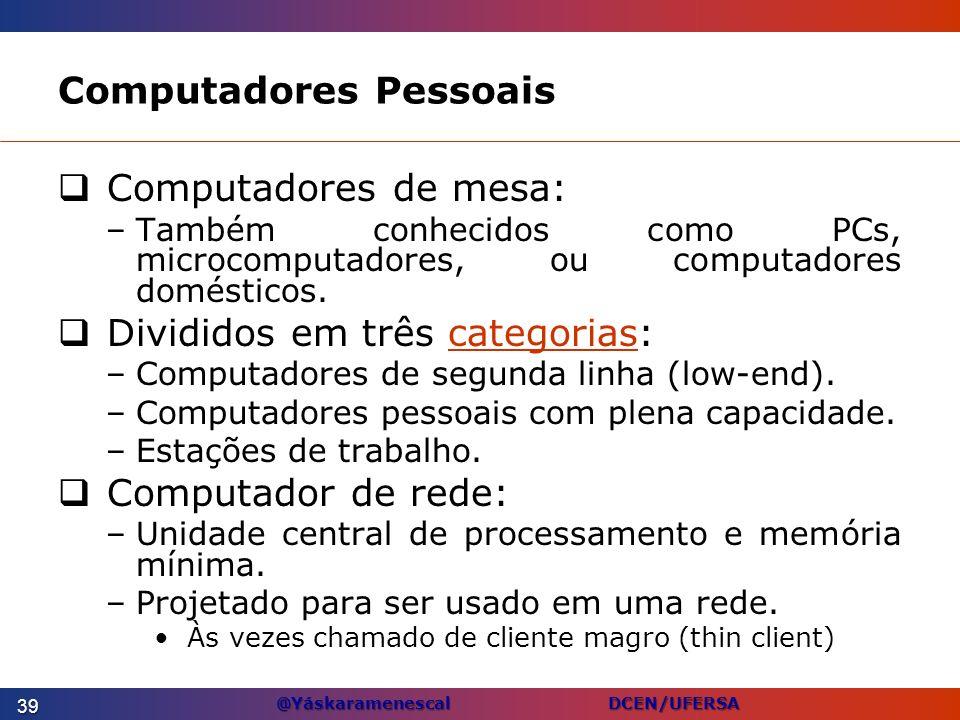 @Yáskaramenescal DCEN/UFERSA Computadores Pessoais Computadores de mesa: –Também conhecidos como PCs, microcomputadores, ou computadores domésticos. D