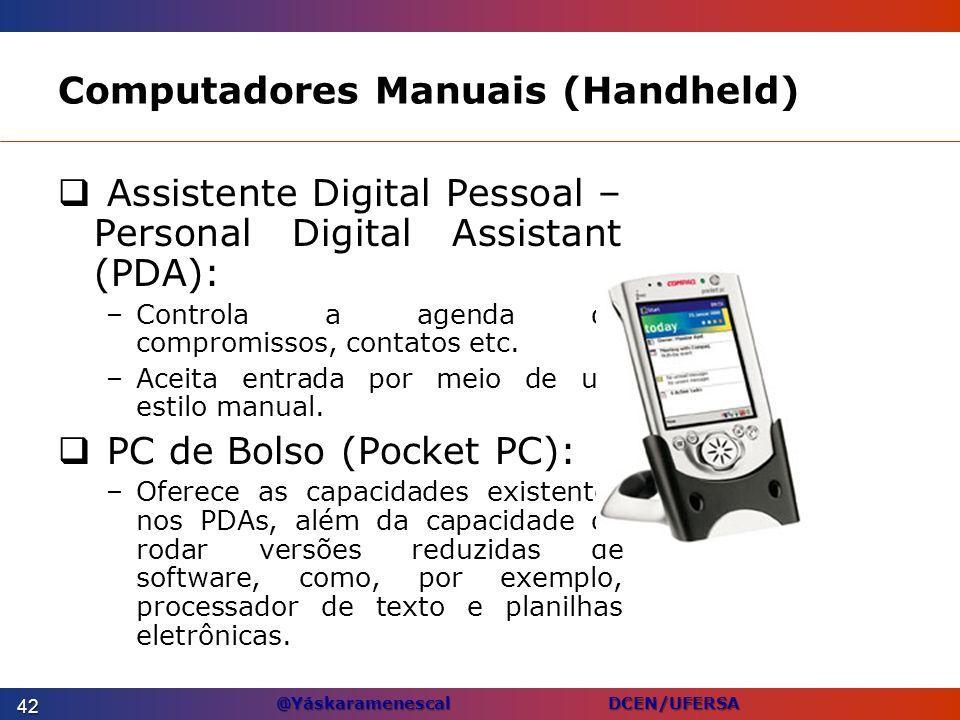 @Yáskaramenescal DCEN/UFERSA Computadores Manuais (Handheld) Assistente Digital Pessoal – Personal Digital Assistant (PDA): –Controla a agenda de comp