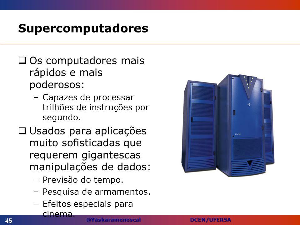 @Yáskaramenescal DCEN/UFERSA Supercomputadores Os computadores mais rápidos e mais poderosos: –Capazes de processar trilhões de instruções por segundo