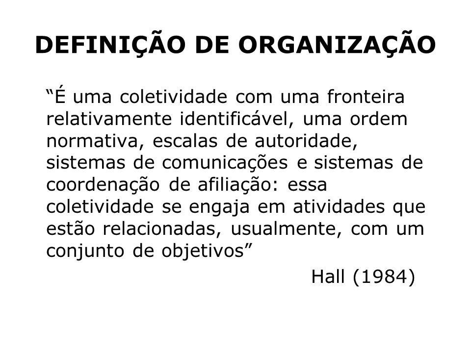 DEFINIÇÃO DE ORGANIZAÇÃO É uma coletividade com uma fronteira relativamente identificável, uma ordem normativa, escalas de autoridade, sistemas de com