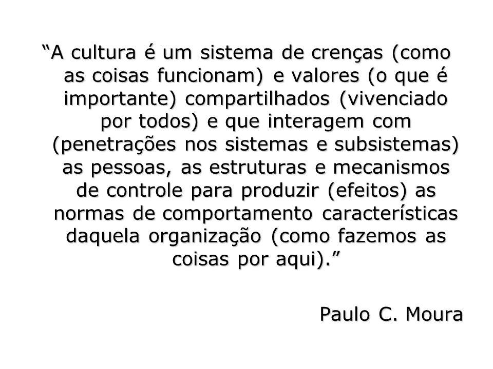 A cultura é um sistema de crenças (como as coisas funcionam) e valores (o que é importante) compartilhados (vivenciado por todos) e que interagem com