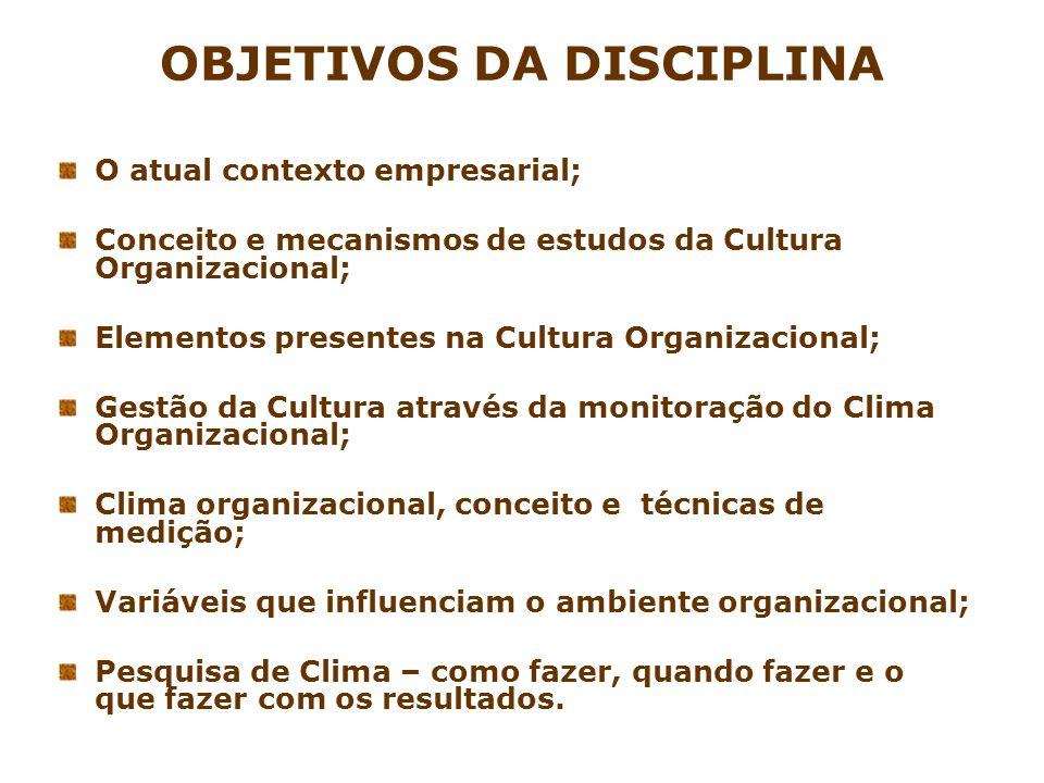 OBJETIVOS DA DISCIPLINA O atual contexto empresarial; Conceito e mecanismos de estudos da Cultura Organizacional; Elementos presentes na Cultura Organ