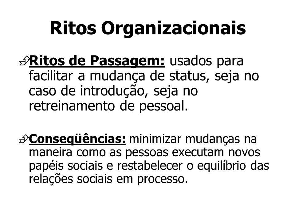 Ritos Organizacionais Ritos de Passagem: usados para facilitar a mudança de status, seja no caso de introdução, seja no retreinamento de pessoal. Cons