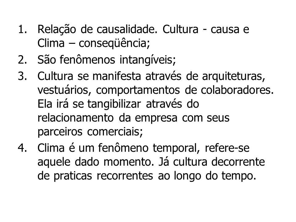 1.Relação de causalidade. Cultura - causa e Clima – conseqüência; 2.São fenômenos intangíveis; 3.Cultura se manifesta através de arquiteturas, vestuár
