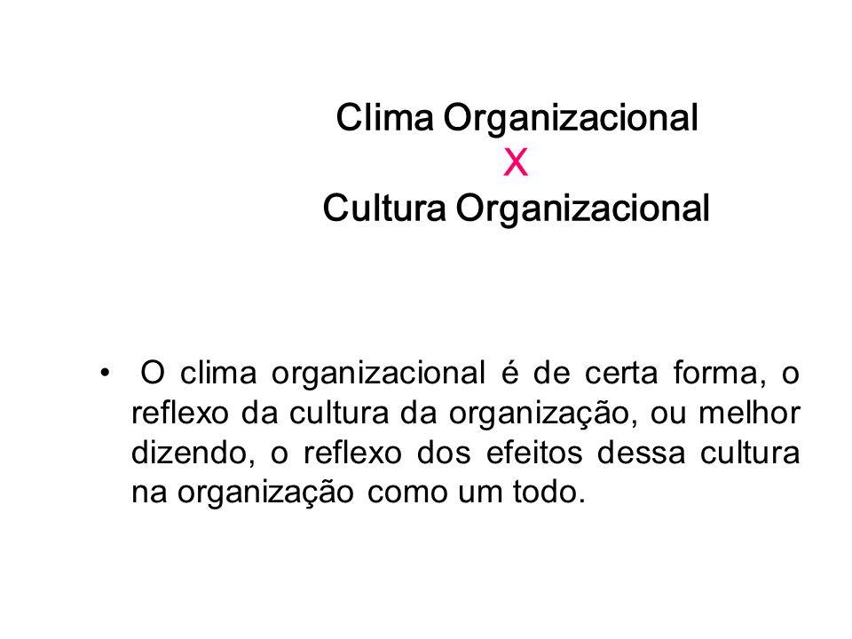 Clima Organizacional X Cultura Organizacional O clima organizacional é de certa forma, o reflexo da cultura da organização, ou melhor dizendo, o refle