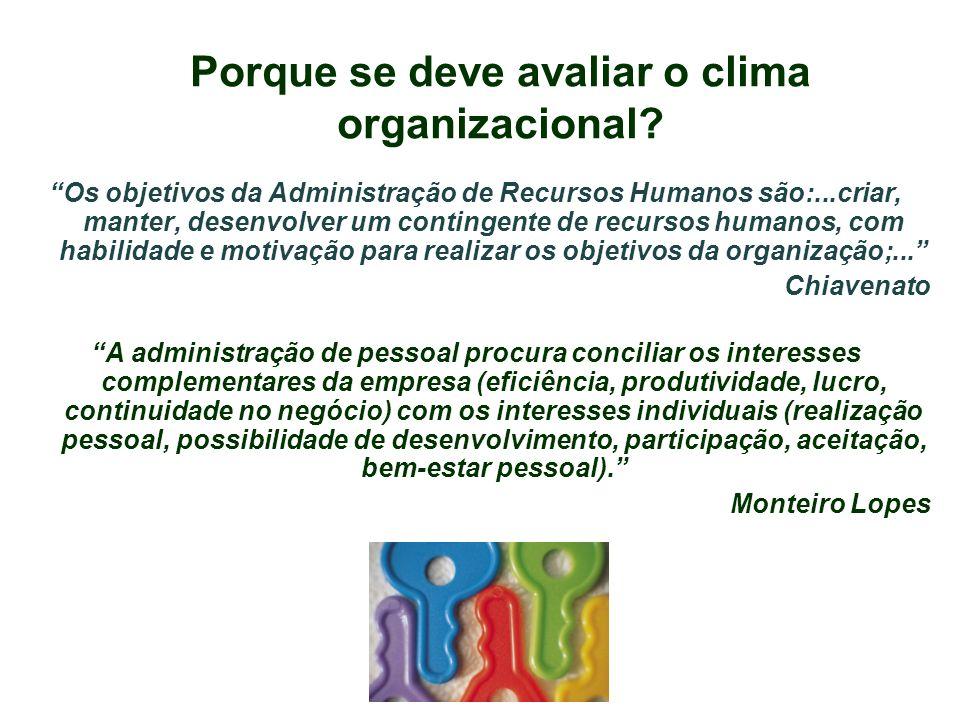 Porque se deve avaliar o clima organizacional? Os objetivos da Administração de Recursos Humanos são:...criar, manter, desenvolver um contingente de r