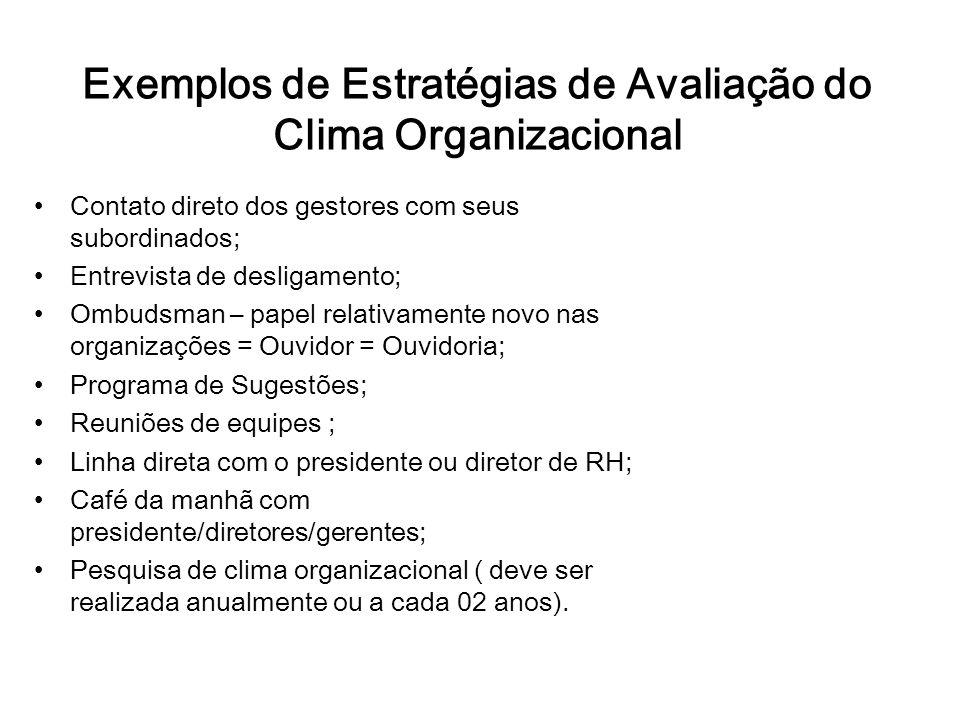 Exemplos de Estratégias de Avaliação do Clima Organizacional Contato direto dos gestores com seus subordinados; Entrevista de desligamento; Ombudsman