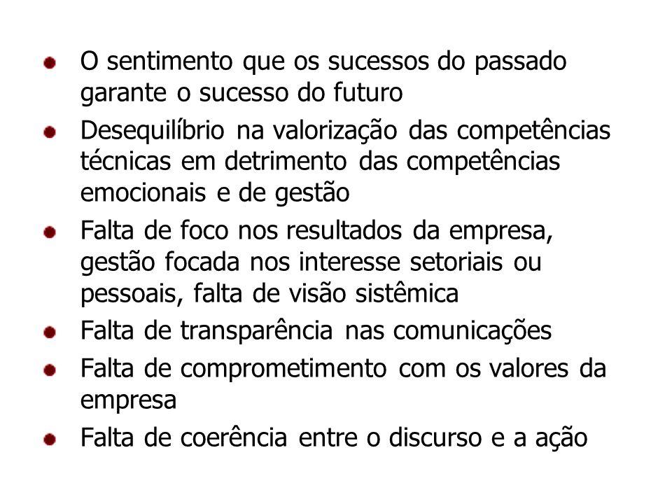 O sentimento que os sucessos do passado garante o sucesso do futuro Desequilíbrio na valorização das competências técnicas em detrimento das competênc
