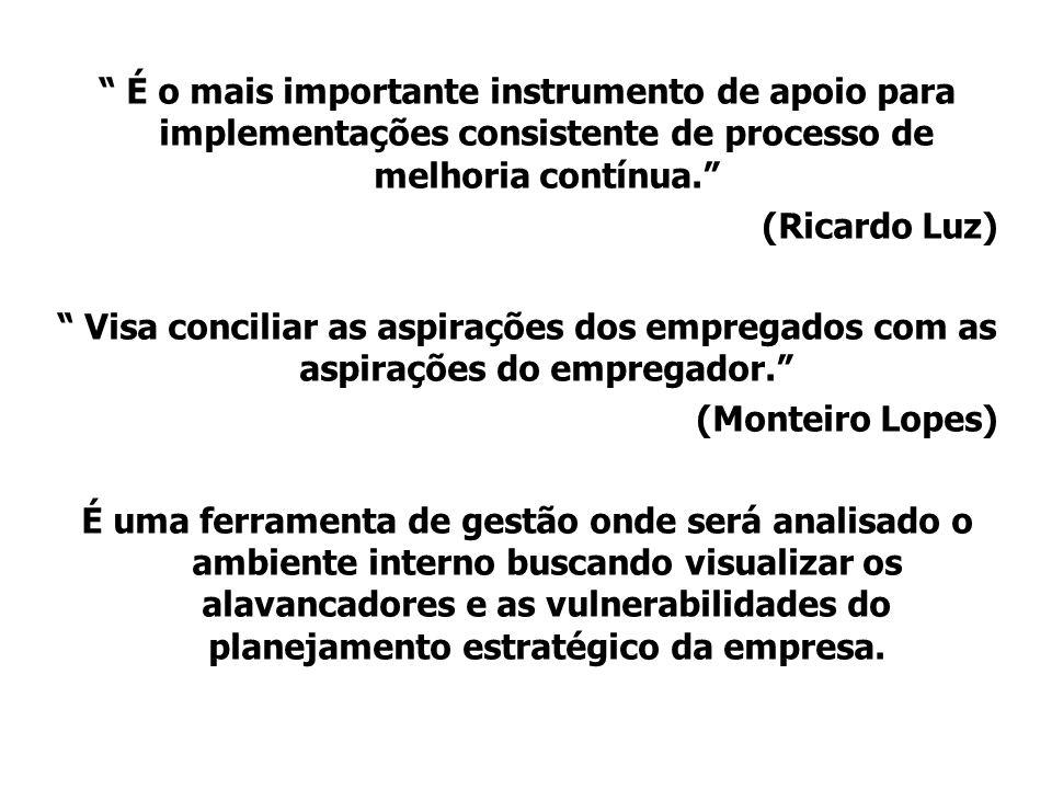 É o mais importante instrumento de apoio para implementações consistente de processo de melhoria contínua. (Ricardo Luz) Visa conciliar as aspirações