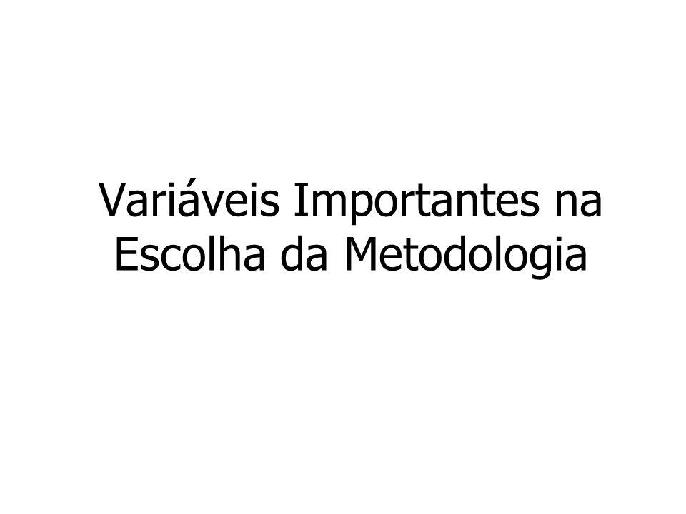 Variáveis Importantes na Escolha da Metodologia