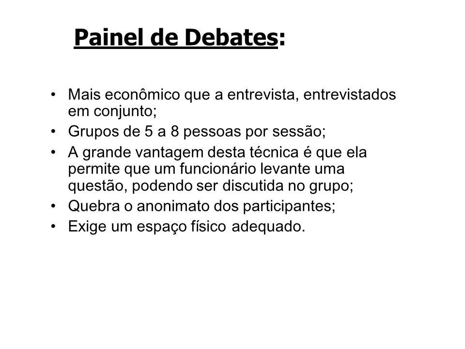 Painel de Debates: Mais econômico que a entrevista, entrevistados em conjunto; Grupos de 5 a 8 pessoas por sessão; A grande vantagem desta técnica é q