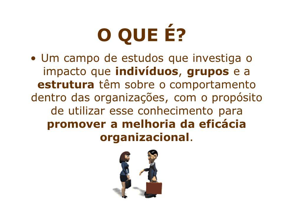 O QUE É? Um campo de estudos que investiga o impacto que indivíduos, grupos e a estrutura têm sobre o comportamento dentro das organizações, com o pro