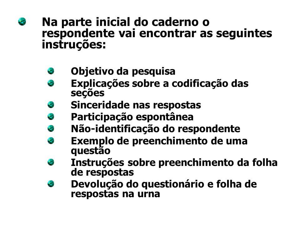 Na parte inicial do caderno o respondente vai encontrar as seguintes instruções: Objetivo da pesquisa Explicações sobre a codificação das seções Since