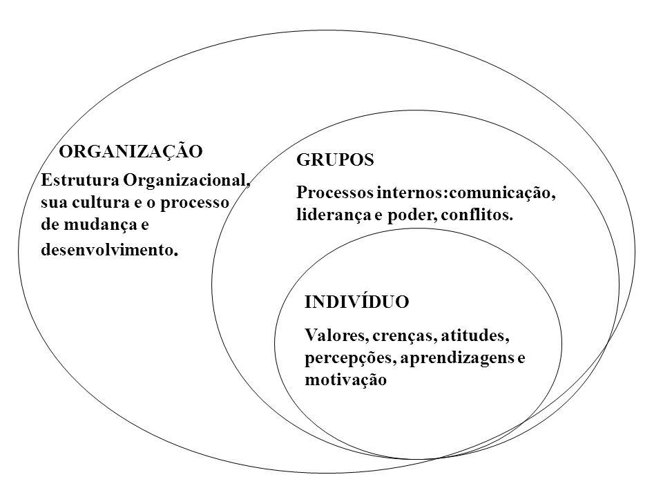 INDIVÍDUO Valores, crenças, atitudes, percepções, aprendizagens e motivação GRUPOS ORGANIZAÇÃO Processos internos:comunicação, liderança e poder, conf