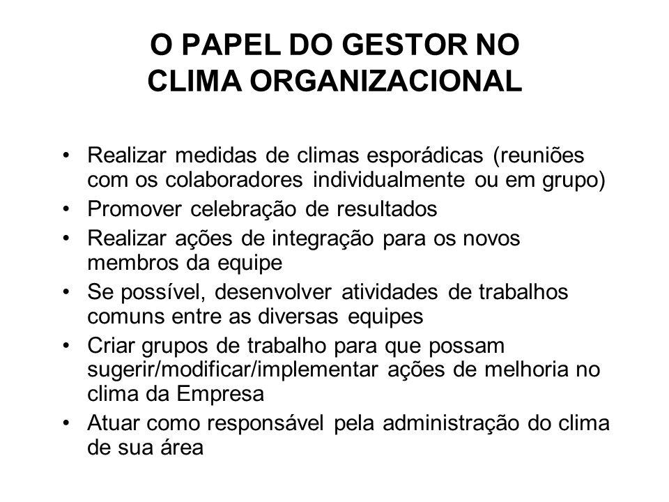 O PAPEL DO GESTOR NO CLIMA ORGANIZACIONAL Realizar medidas de climas esporádicas (reuniões com os colaboradores individualmente ou em grupo) Promover