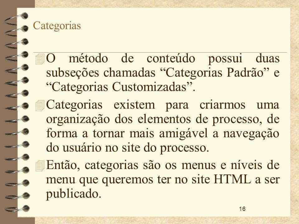 16 Categorias 4 O método de conteúdo possui duas subseções chamadas Categorias Padrão e Categorias Customizadas. 4 Categorias existem para criarmos um