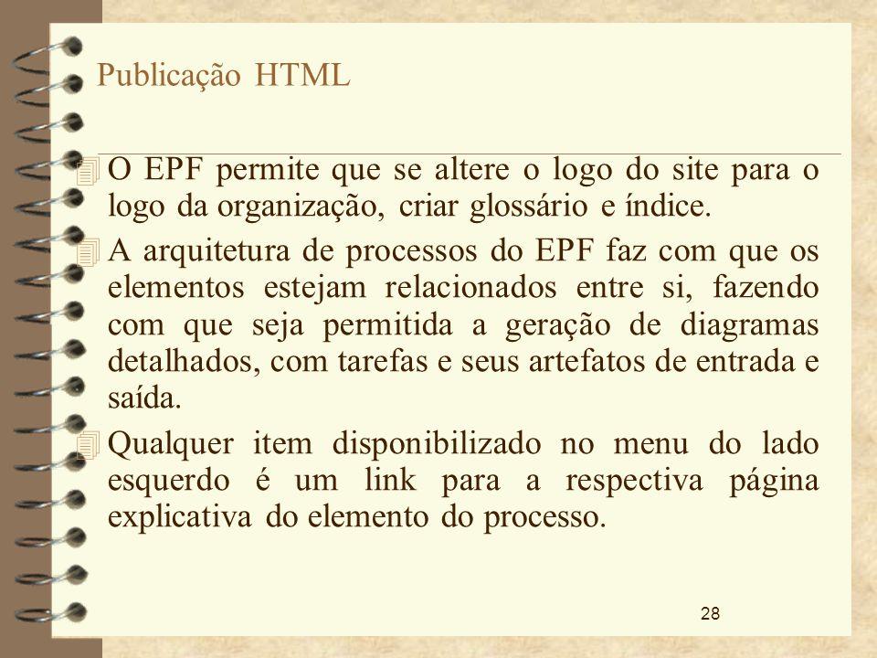 28 Publicação HTML 4 O EPF permite que se altere o logo do site para o logo da organização, criar glossário e índice. 4 A arquitetura de processos do