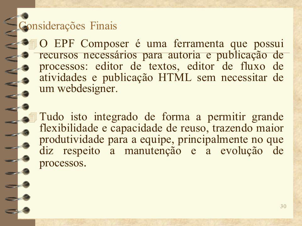 Considerações Finais 4 O EPF Composer é uma ferramenta que possui recursos necessários para autoria e publicação de processos: editor de textos, edito
