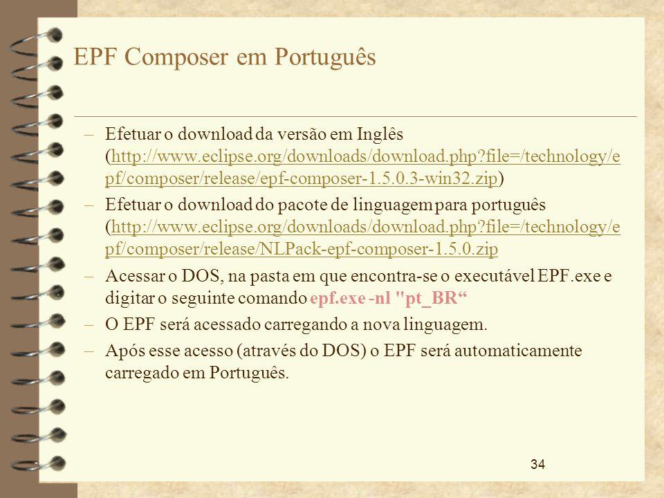 34 EPF Composer em Português –Efetuar o download da versão em Inglês (http://www.eclipse.org/downloads/download.php?file=/technology/e pf/composer/rel