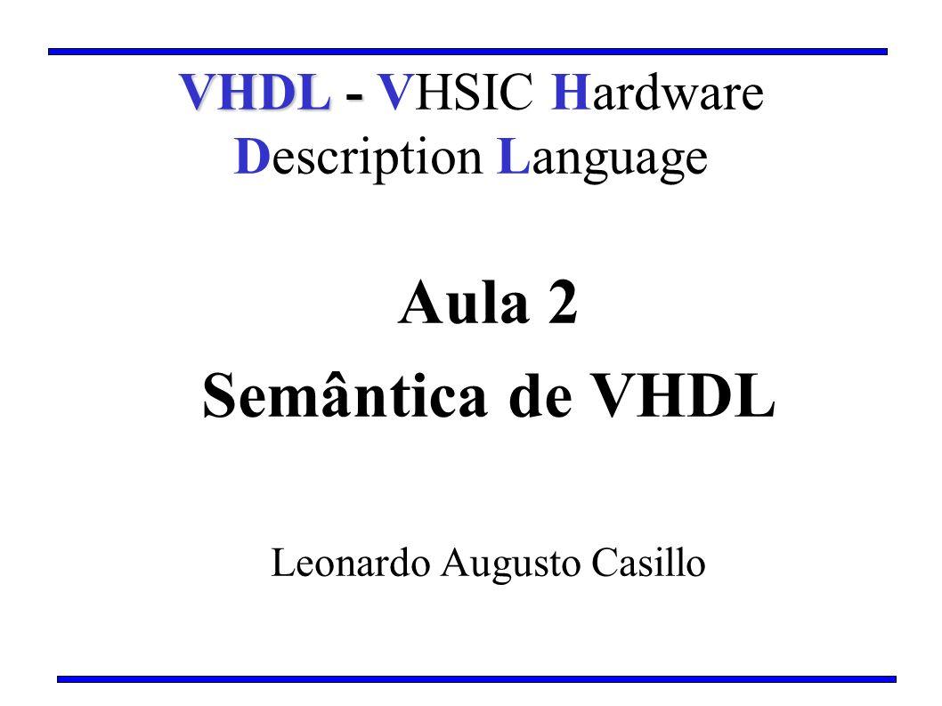 Aula 2 Semântica de VHDL Leonardo Augusto Casillo VHDL - VHDL - VHSIC Hardware Description Language