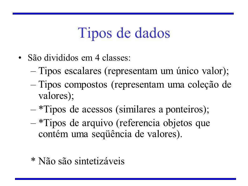 Tipos de dados São divididos em 4 classes: –Tipos escalares (representam um único valor); –Tipos compostos (representam uma coleção de valores); –*Tip