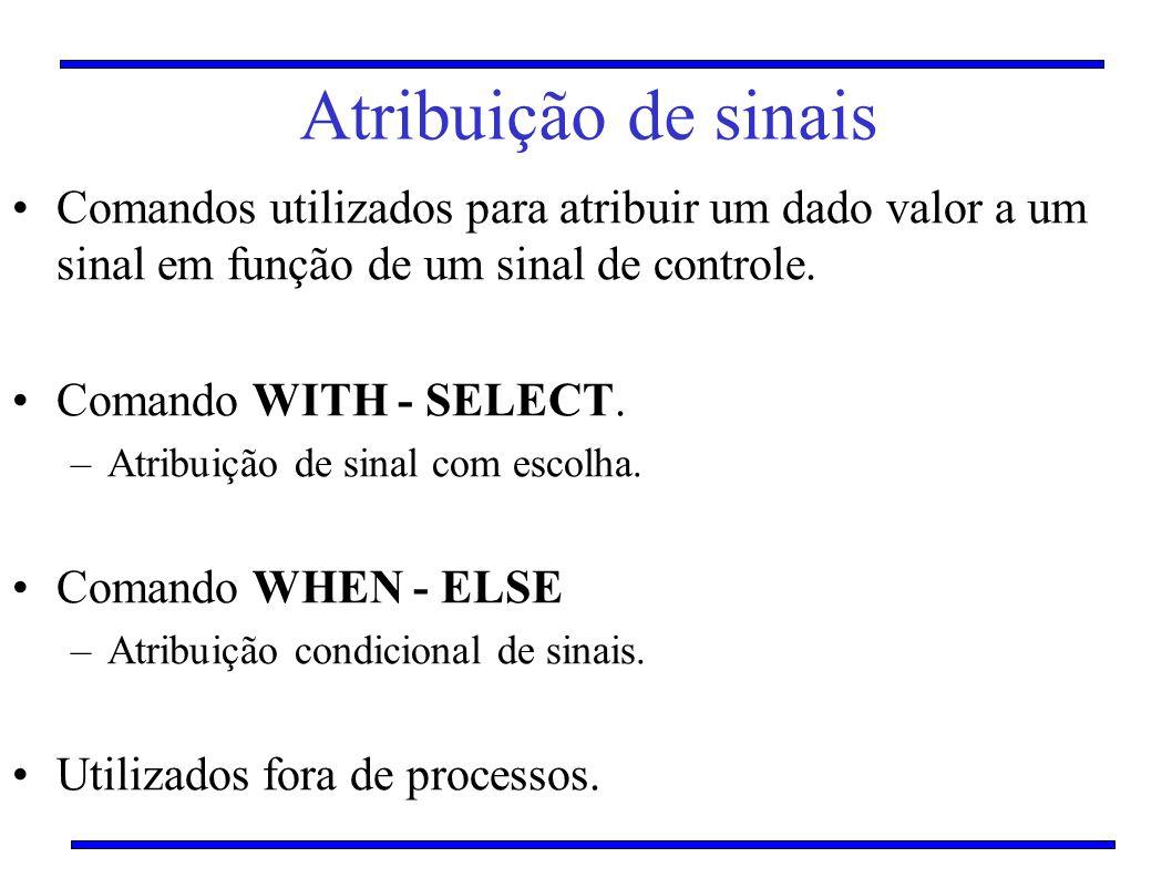 Atribuição de sinais Comandos utilizados para atribuir um dado valor a um sinal em função de um sinal de controle. Comando WITH - SELECT. –Atribuição