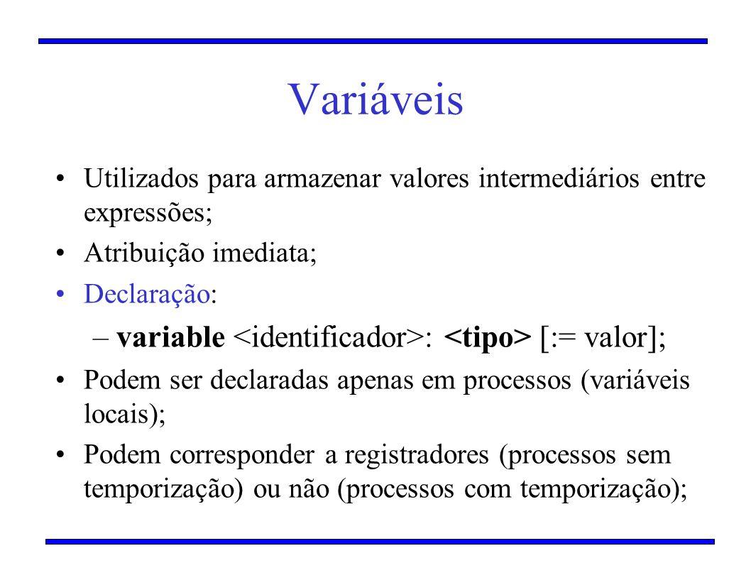 Variáveis Utilizados para armazenar valores intermediários entre expressões; Atribuição imediata; Declaração: –variable : [:= valor]; Podem ser declar